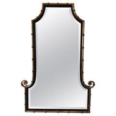 1990s Gilt Iron Faux Bamboo Beveled Mirror