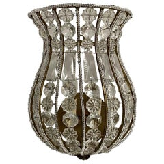 1990s Gilt Ribbed Venetian Crystal Basket Wall Sconce