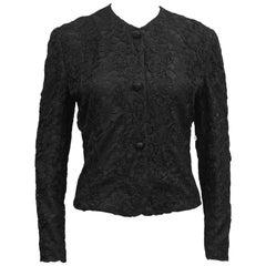 1990s Giorgio Armani Black Lace Jacket