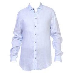 1990S GIORGIO ARMANI Light Blue Cotton Mens LS Shirt