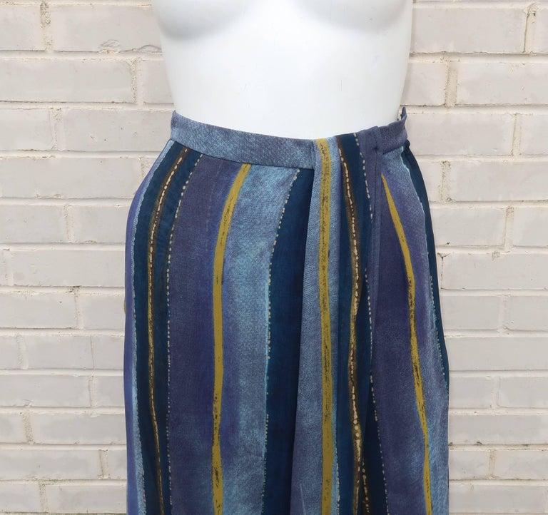 Black 1990's Giorgio Armani Sheer Silk Harem Sarong Style Pants For Sale