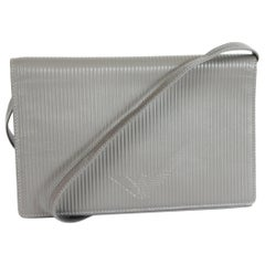 Giorgio Armani Valextra Gray Leather Evening Clutch Bag 1990s