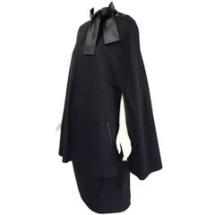 1990s Givenchy by Galliano Navy Leather and Wool Cape Ensemble