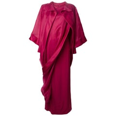 1990s Givenchy Fuchsia Chiffon Long Dress