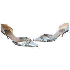1990s Givenchy Size 10 / 40 By Alexander McQueen Silver Logo Kitten Heels Shoes
