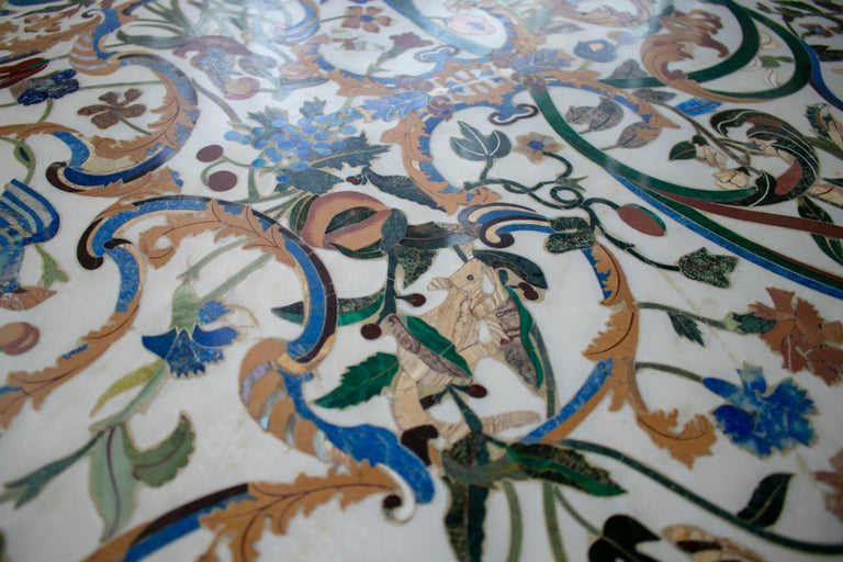 1990s Grand Pietre Dure Inlay Mosaic Marble Long Console Table Signed