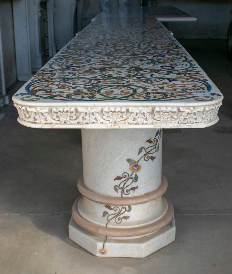1990s grand Mosaic white marble console table signed