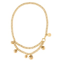 1990's Gucci Double Layer Gold Link Necklace with Watch Chain Style Clasp
