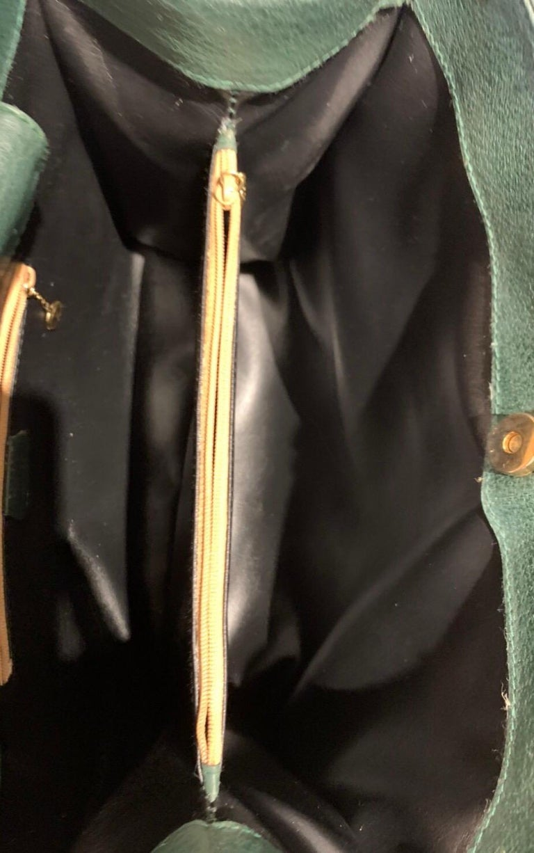 1990s GUCCI Green Leather Bamboo Tote Princess Diana Tote 7