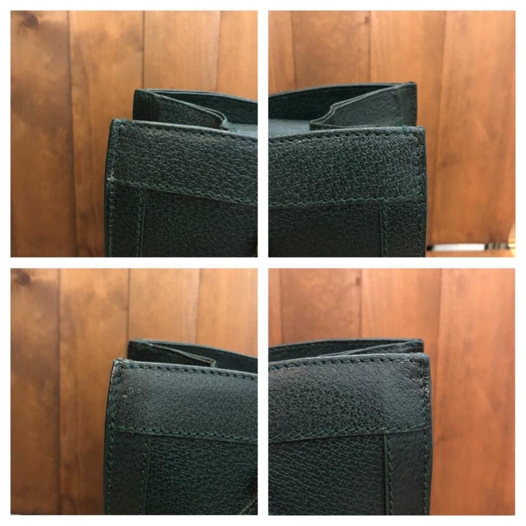 1990s GUCCI Green Leather Bamboo Tote Princess Diana Tote 2