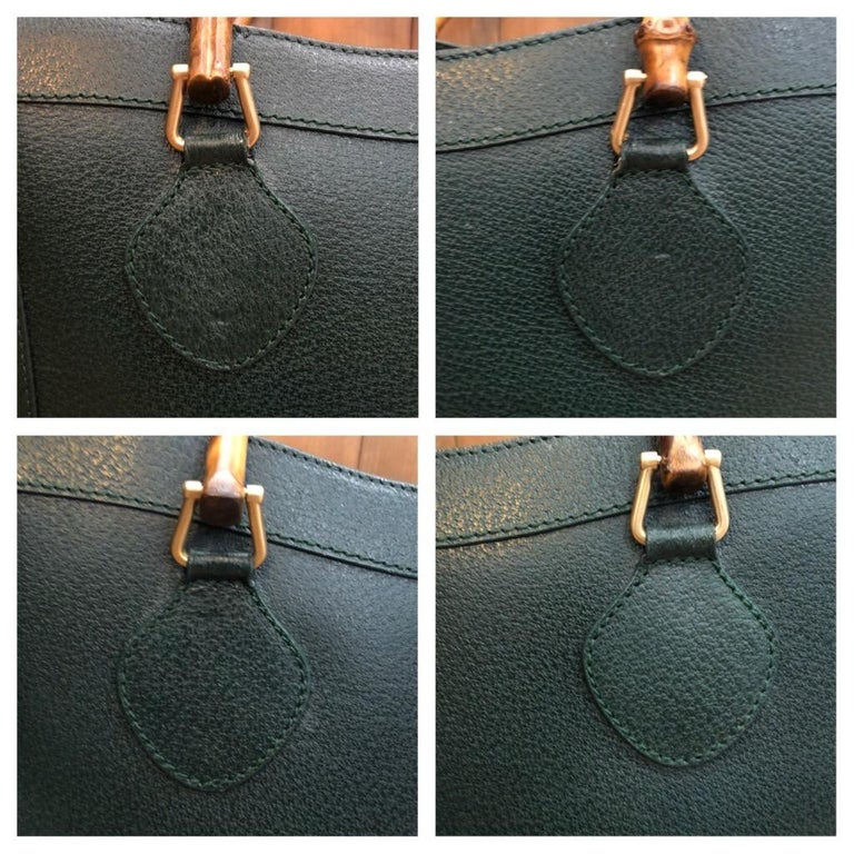1990s GUCCI Green Leather Bamboo Tote Princess Diana Tote 3