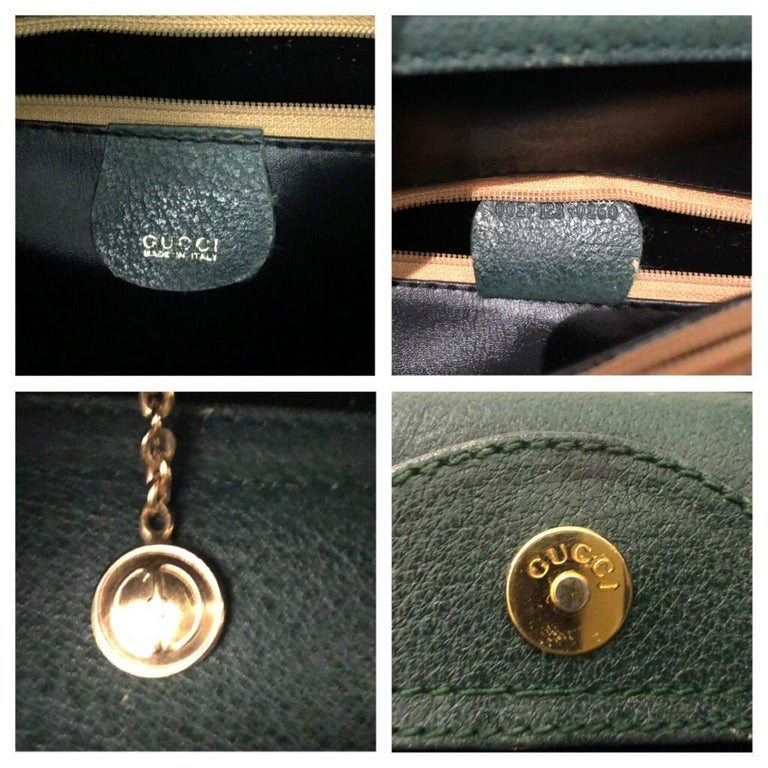 1990s GUCCI Green Leather Bamboo Tote Princess Diana Tote 4