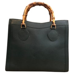1990s GUCCI Green Leather Bamboo Tote Princess Diana Tote