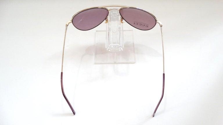 Women's or Men's Gucci 1990s Purple Lens Aviators