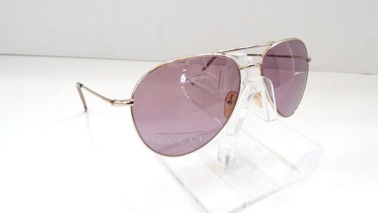 Gucci 1990s Purple Lens Aviators 3