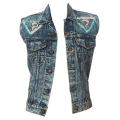 1990S GUESS Glitter Puffy Painted Acid Washed Denim Vest