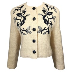 1990s Guy Laroche Ivory and Black Embroidered Vintage 90s Cropped Jacket Blazer