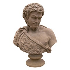 1990s Hand Carved Marble Bust of Bacchus Roman God of Wine and Fertility