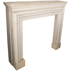 1990s Hand Carved White Marble Neoclassical Fireplace Mantle