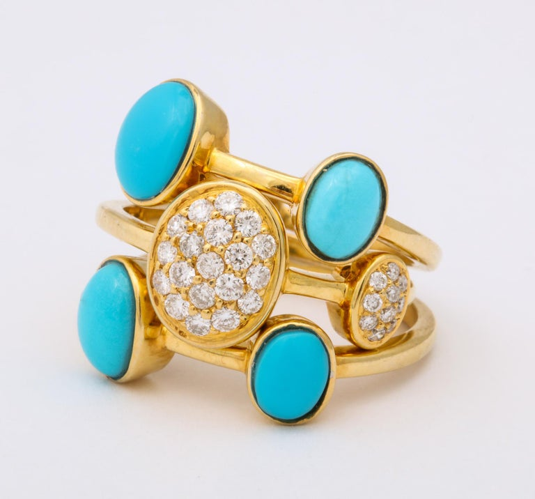 1990s Harem Style Turquoise with Diamonds Triple Flexible Gold Band Rings For Sale 5