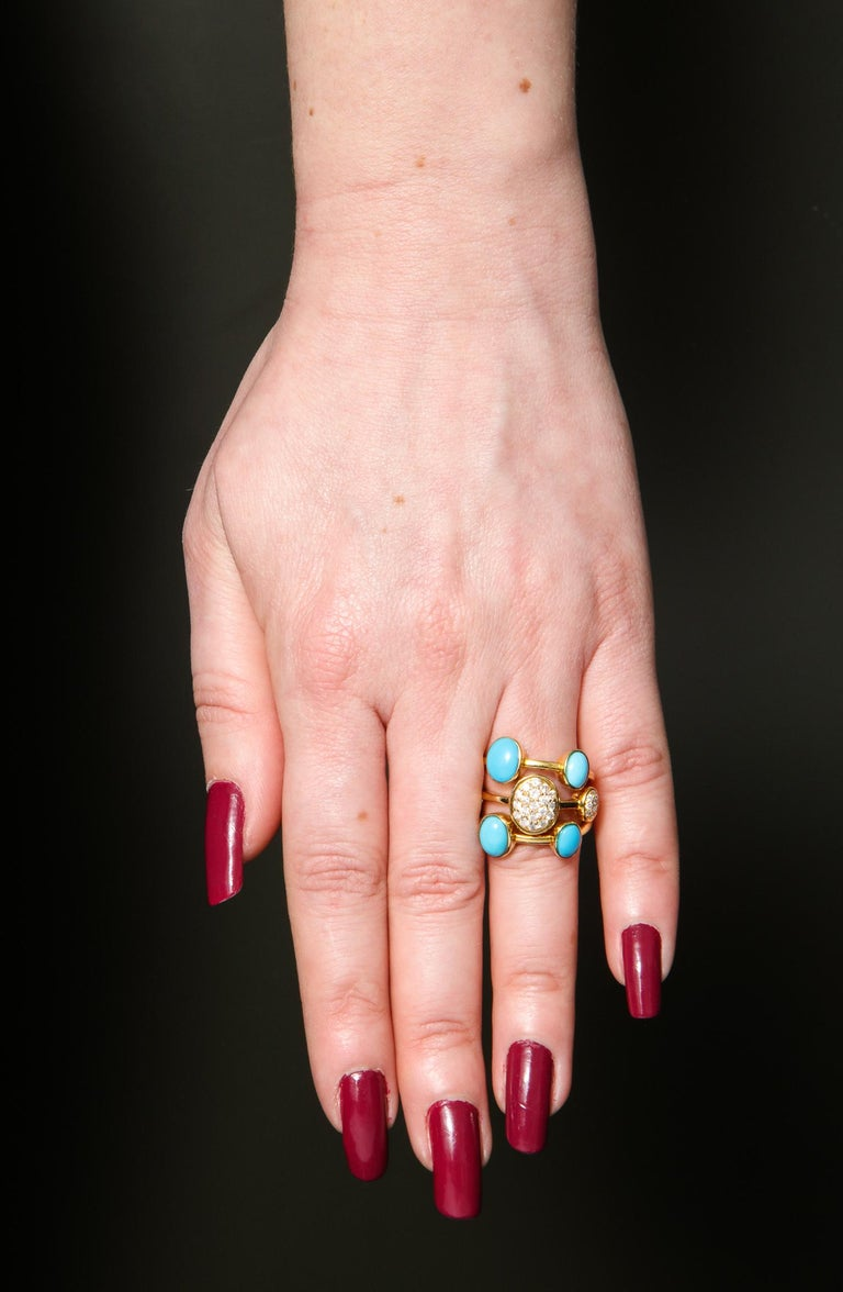 1990s Harem Style Turquoise with Diamonds Triple Flexible Gold Band Rings For Sale 6
