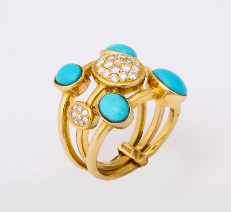 Round Cut 1990s Harem Style Turquoise with Diamonds Triple Flexible Gold Band Rings For Sale