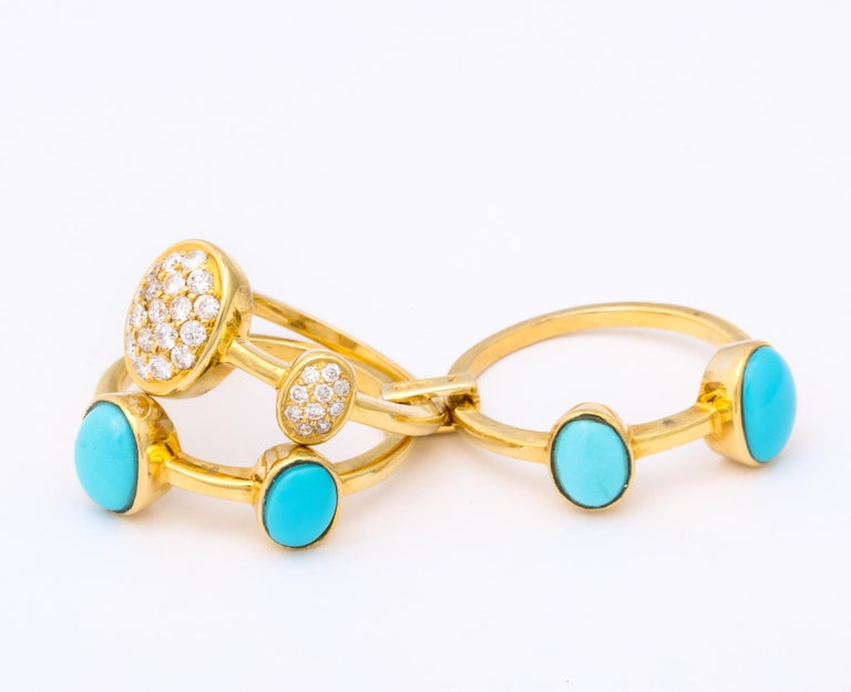 1990s Harem Style Turquoise with Diamonds Triple Flexible Gold Band Rings In Good Condition For Sale In New York, NY