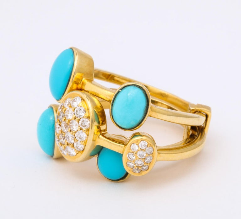 Women's 1990s Harem Style Turquoise with Diamonds Triple Flexible Gold Band Rings For Sale