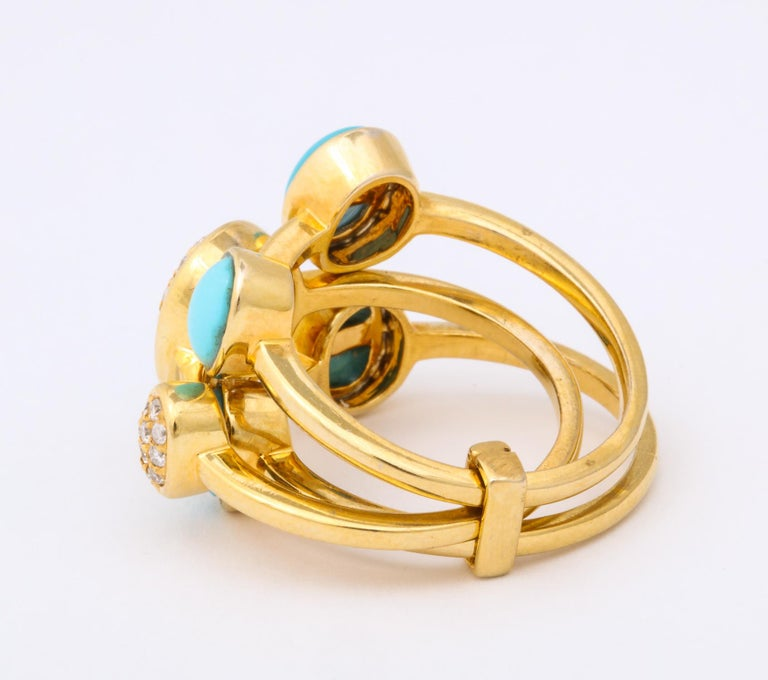 1990s Harem Style Turquoise with Diamonds Triple Flexible Gold Band Rings For Sale 1