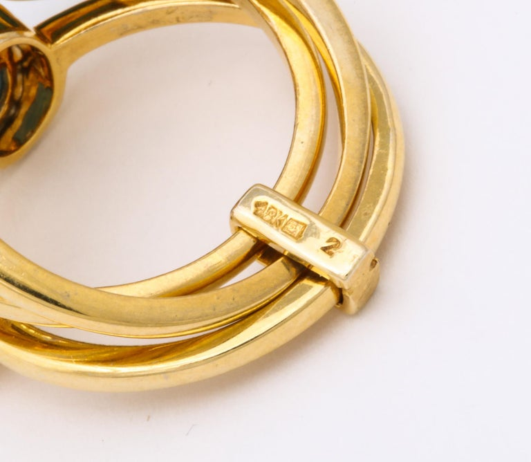 1990s Harem Style Turquoise with Diamonds Triple Flexible Gold Band Rings For Sale 4