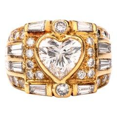 1990s Heart Diamond 18 Karat Gold Engagement Cocktail Ring