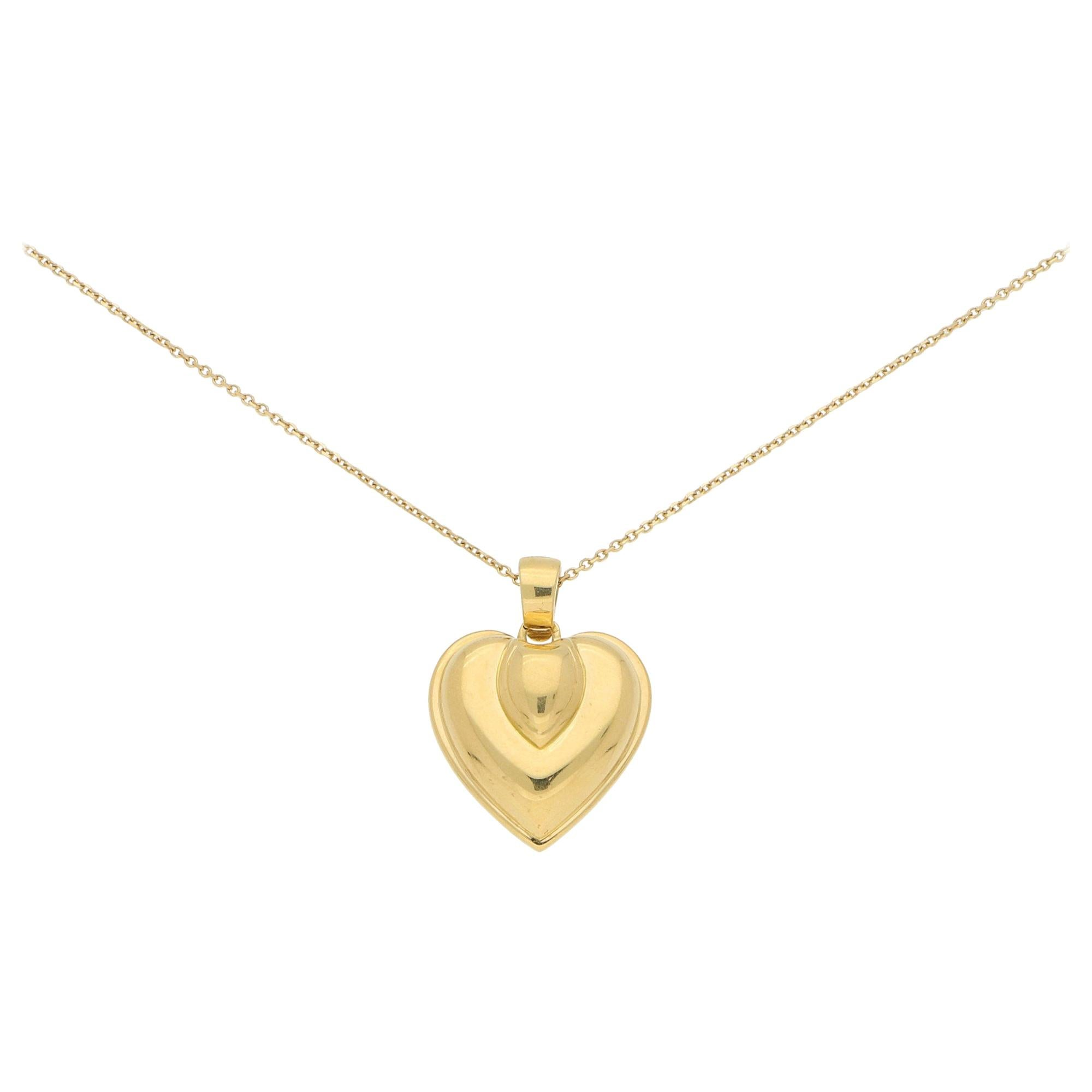 Vintage Cartier Heart Pendant in 18k Yellow Gold, 1990's