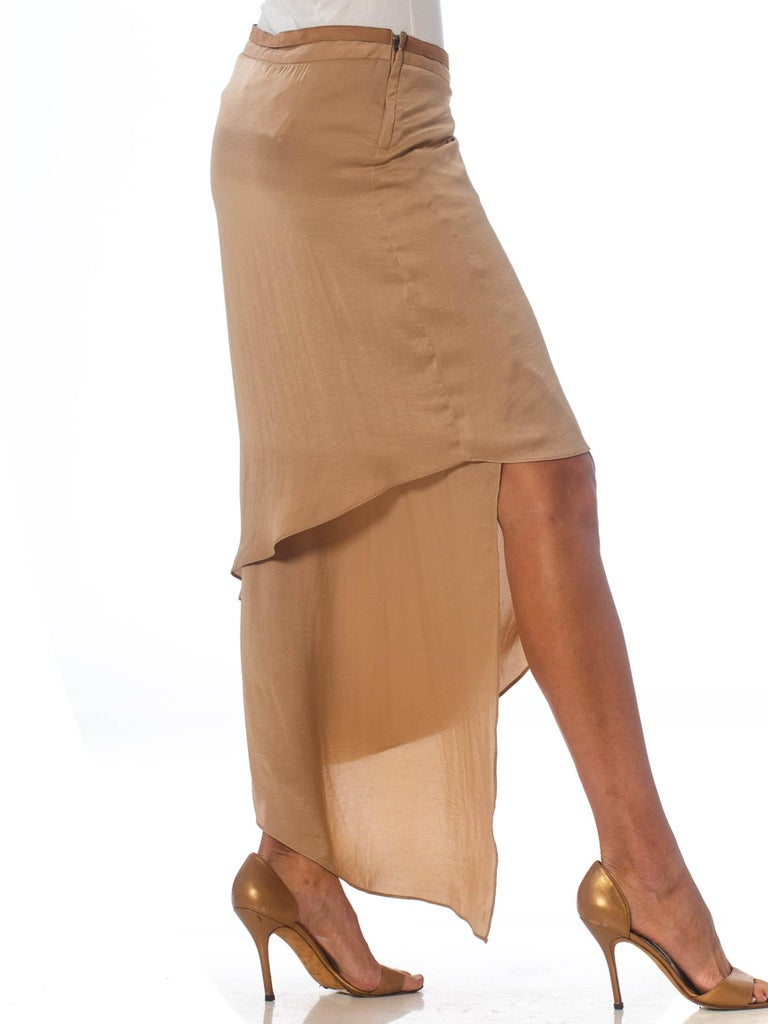 1990'S HELMUT LANG Beige Silk Charmeuse Asymmetrically Draped Skirt In Excellent Condition In New York, NY