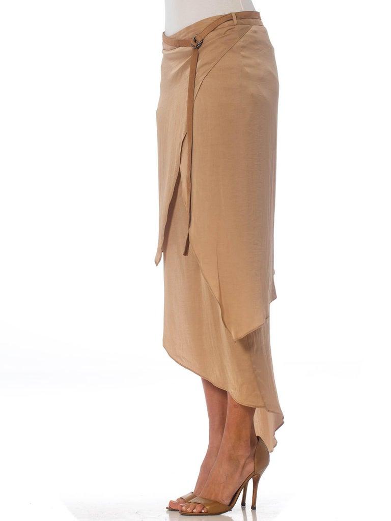 Women's 1990'S HELMUT LANG Beige Silk Charmeuse Asymmetrically Draped Skirt