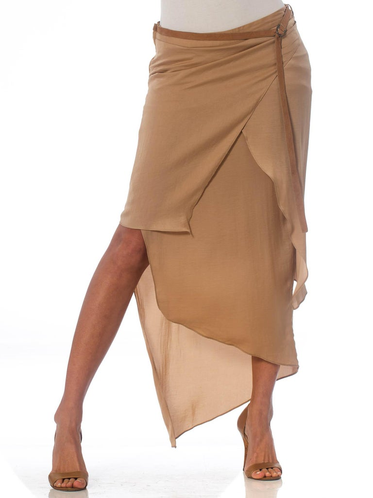 1990'S HELMUT LANG Beige Silk Charmeuse Asymmetrically Draped Skirt 1