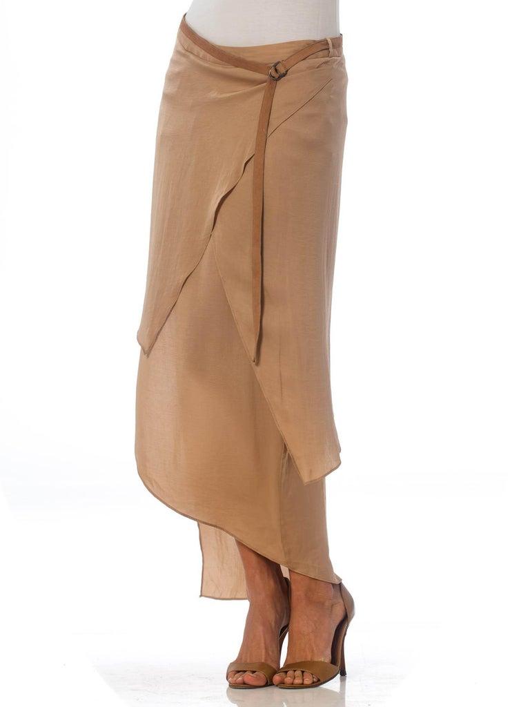 1990'S HELMUT LANG Beige Silk Charmeuse Asymmetrically Draped Skirt 2