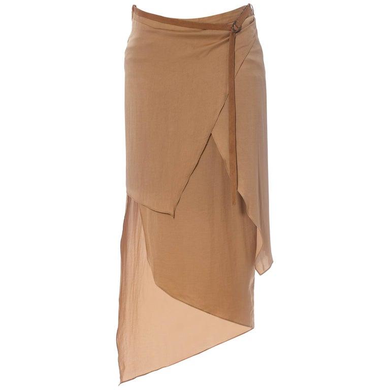 1990'S HELMUT LANG Beige Silk Charmeuse Asymmetrically Draped Skirt