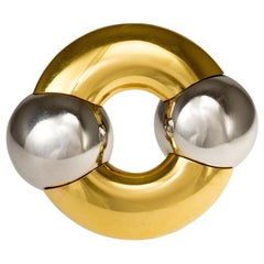 1990s Hemmerle Polished Gold, Platinum Brooch