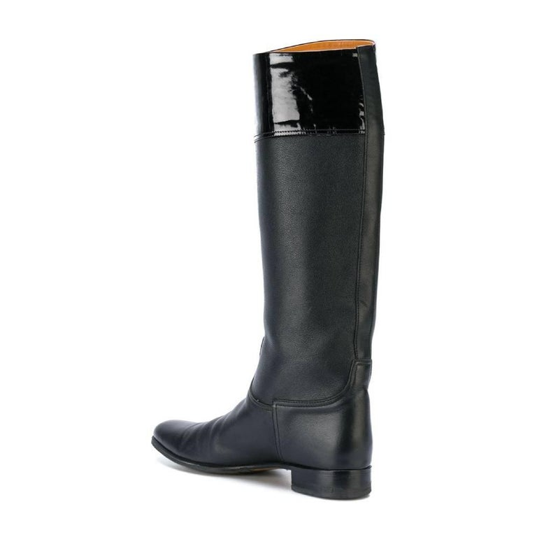 1990s Hermès Black Leather High Boots In Good Condition For Sale In Lugo (RA), IT