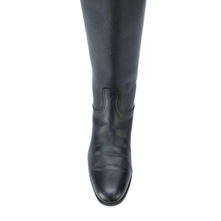 Women's 1990s Hermès Black Leather High Boots For Sale