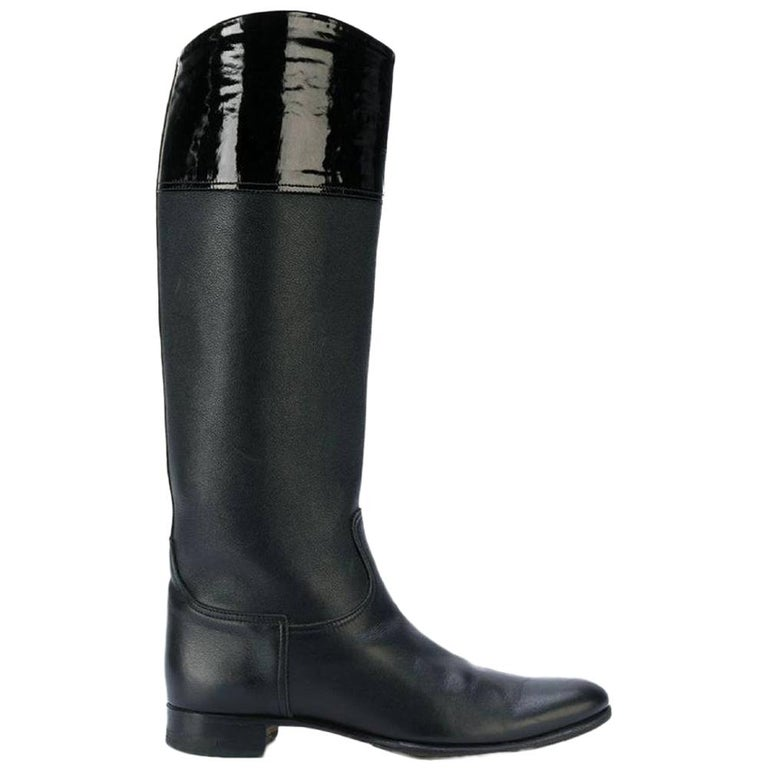 1990s Hermès Black Leather High Boots For Sale