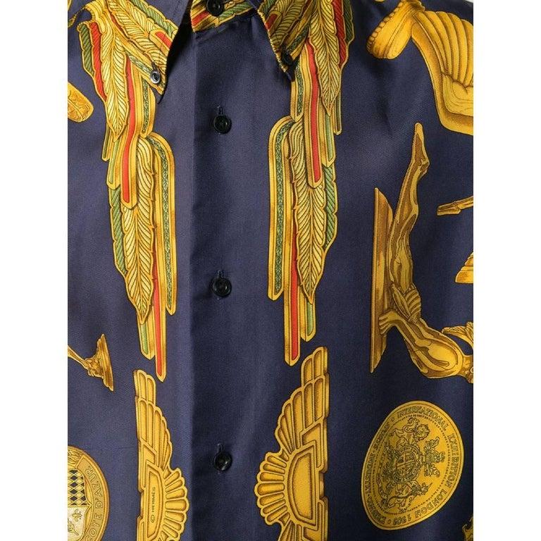 Men's 1990s Hermès Blue And Gold Silk Shirt For Sale