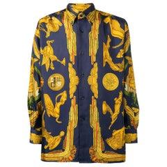 1990s Hermès Blue And Gold Silk Shirt
