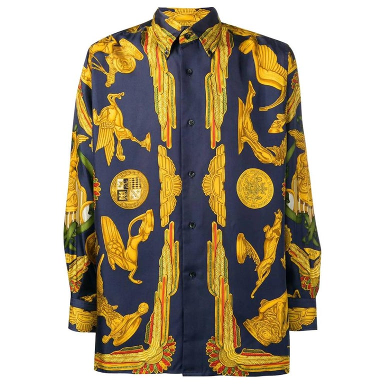 1990s Hermès Blue And Gold Silk Shirt For Sale