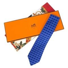 1990's Hermès Blue Fish Printed Silk Necktie
