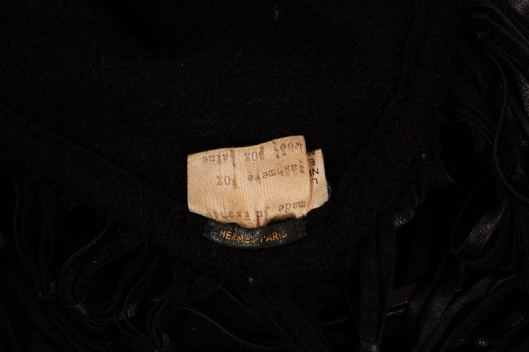 Women's 1990's Hermes Cashmere Leather Black Fringe Shawl For Sale