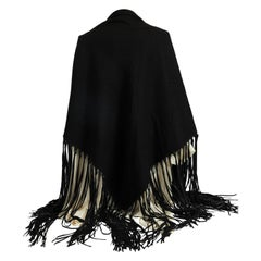 1990's Hermes Cashmere Leather Black Fringe Shawl