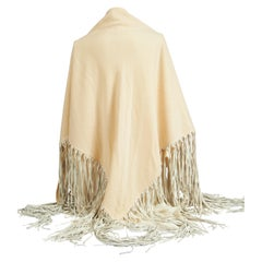 1990's Hermes Cashmere Leather Cream Fringe Shawl