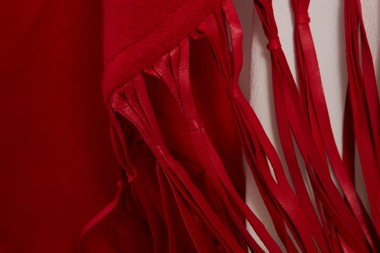 1990's Hermes Cashmere Wool Red Fringe Shawl  In Good Condition For Sale In West Hollywood, CA