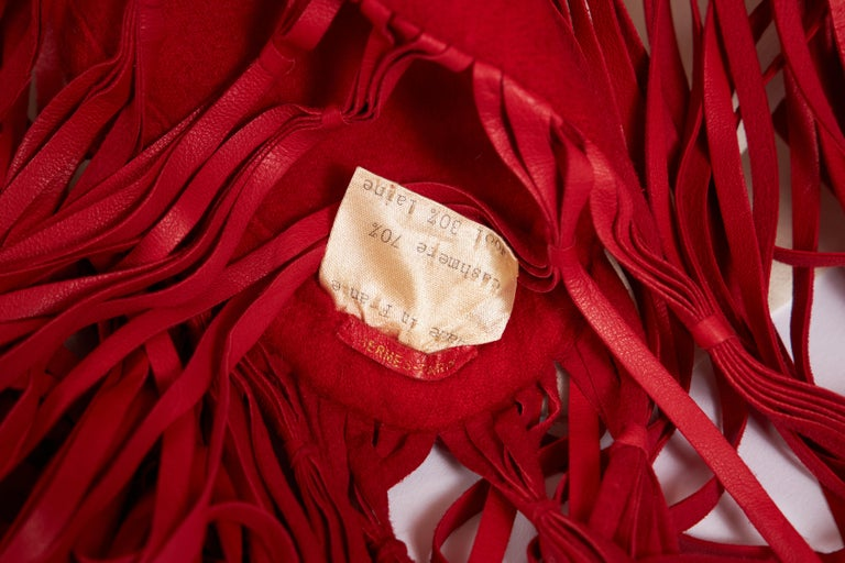 Women's 1990's Hermes Cashmere Wool Red Fringe Shawl  For Sale